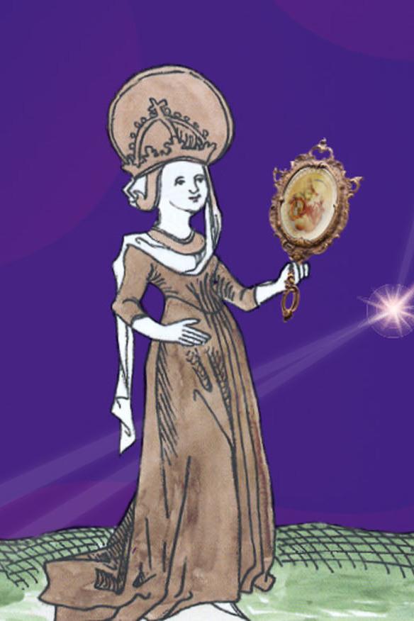 Gezeichnete Darstellung der Hildegard