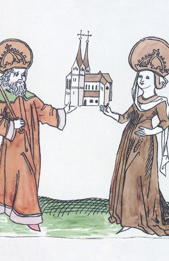 Die Basilika St. Lorenz in den Händen von Hildegard und Karl der Große