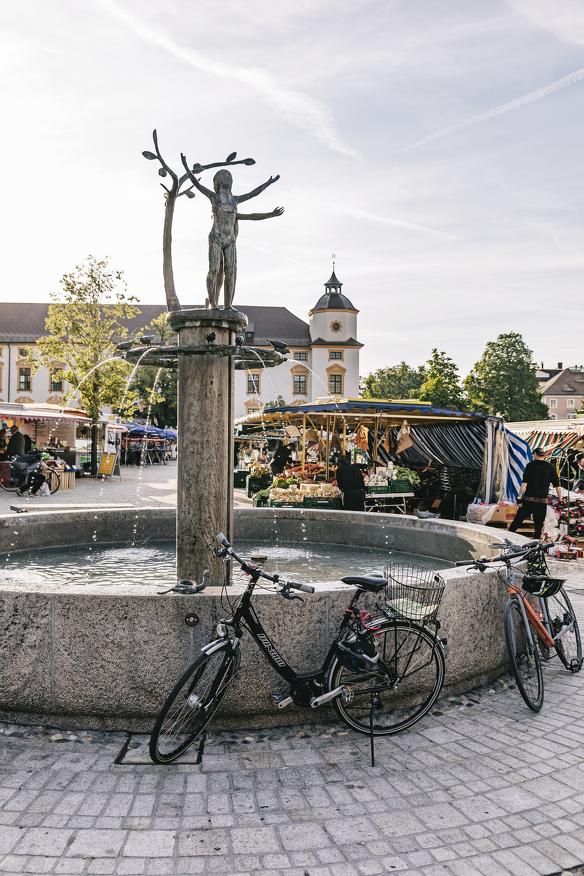 Einer der Brunnen in Kempten, der Hildegardbrunnen