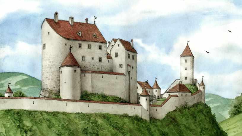Eine gezeichnete Darstellung der ehemaligen Brughalde in Kempten