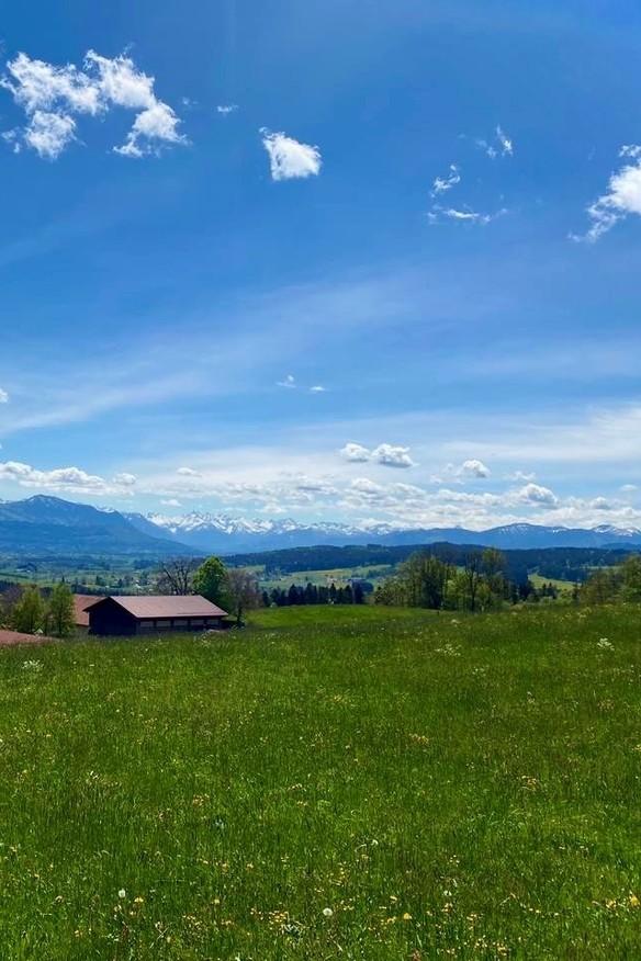 Panorama, blauer Himmel und grüne Wiesen vom Mariaberg in Kempten