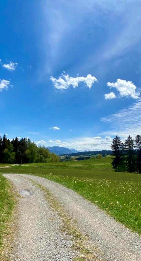 Panorama, blauer Himmel und grüne Wiesen auf dem Jakobus-Pilgerweg durch Kempten