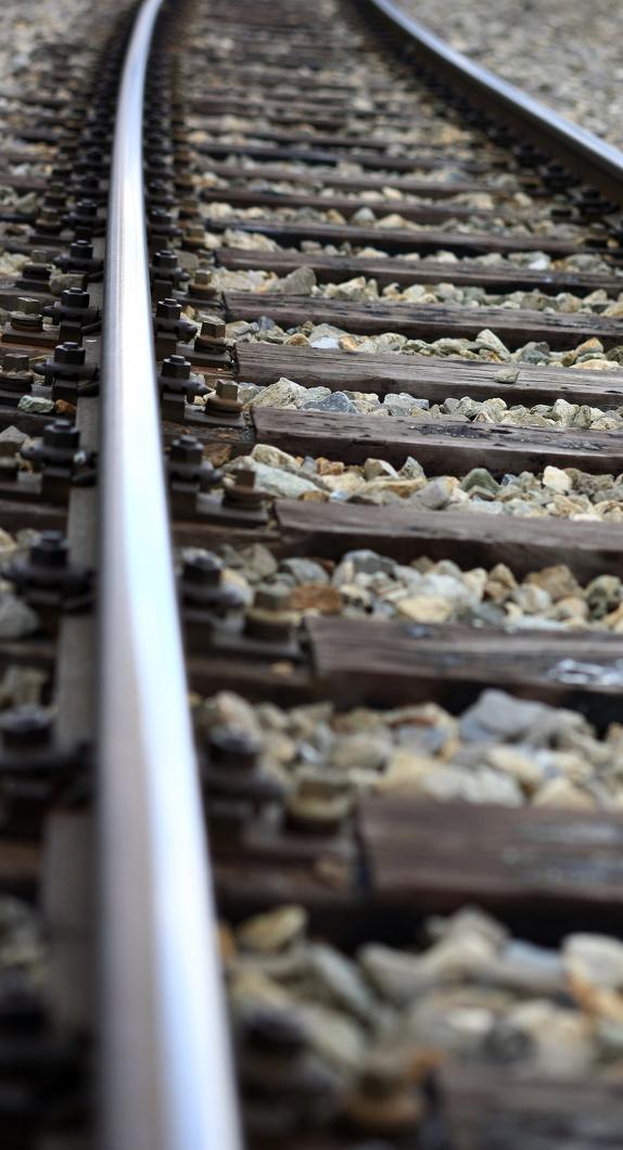 Detailaufnahme eines Bahngleises