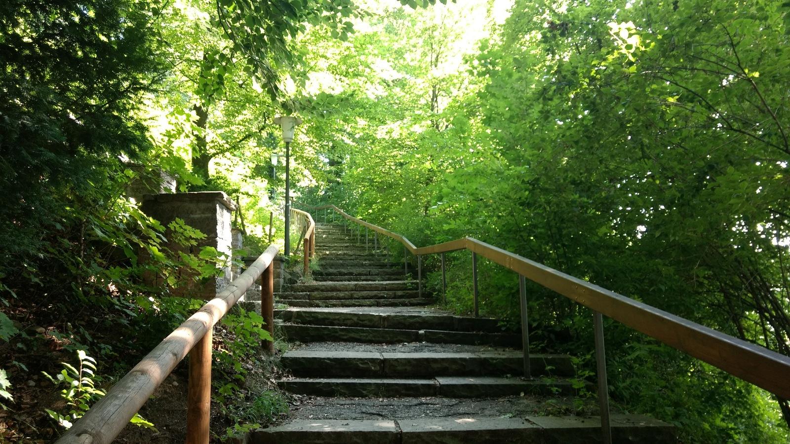 Die Treppen hoch zur Burghalde