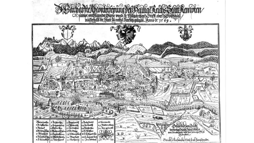 Scan einer Stadtansicht von 1569