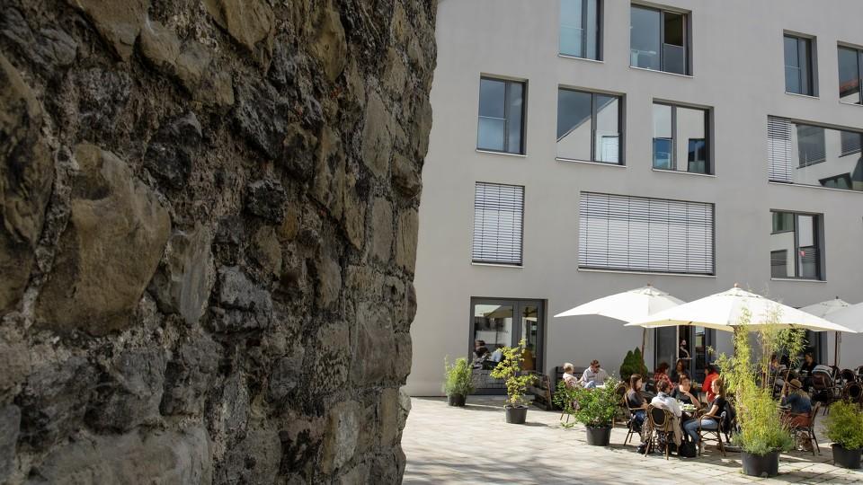 Blick auf die Stadtmauer in Kempten