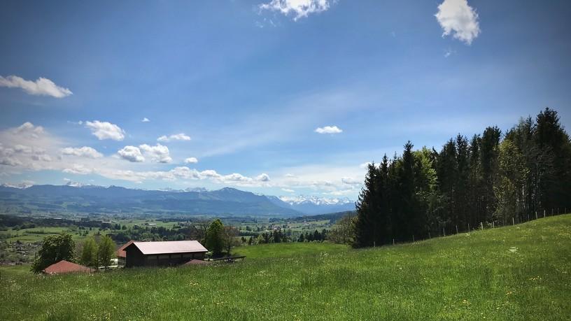 Blick vom Mariaberg auf das herrliche Bergpanorama