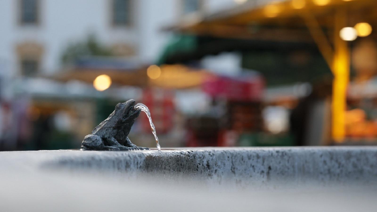 Frosch auf dem Brunnen auf dem Hildegardplatz mit dem Wochenmarkt im Hintergrund